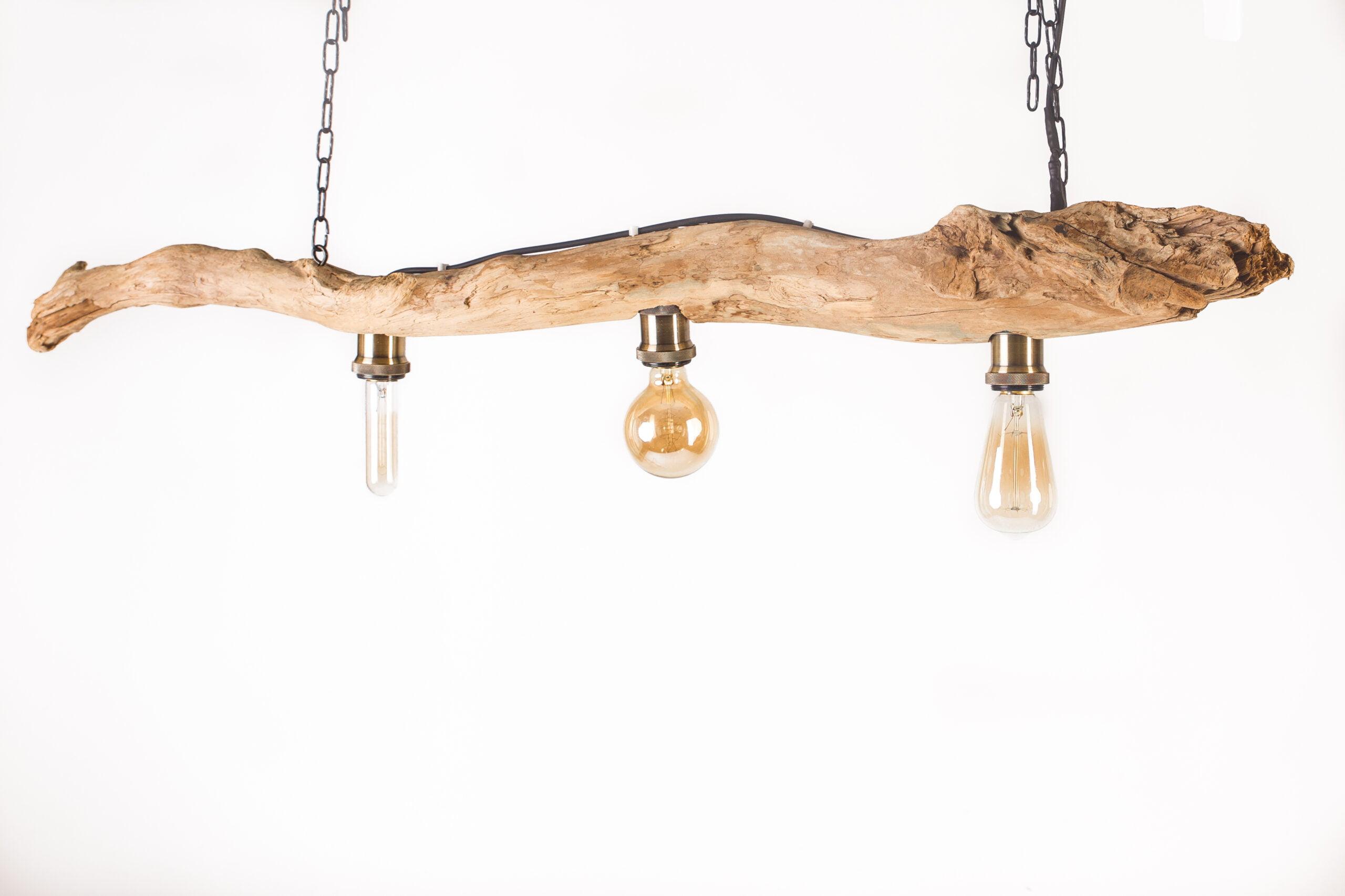 Hängelampe aus Schwemmholz für Tisch, drei verschiedene Vintagelampen